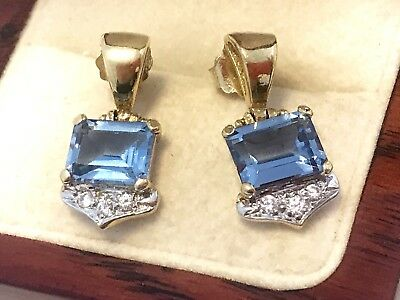 Genuine Solid 18ct 18k Yellow Gold 4.04ct BLUE TOPAZ Dangle DROP Earrings R$670