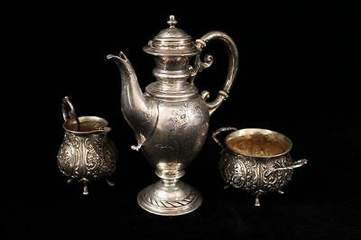 Antique German Repousse Silver Tea Set, 19th C.