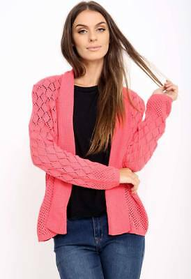 NEW Womens Ladies Long Sleeve Knitted Cardigan in Coral