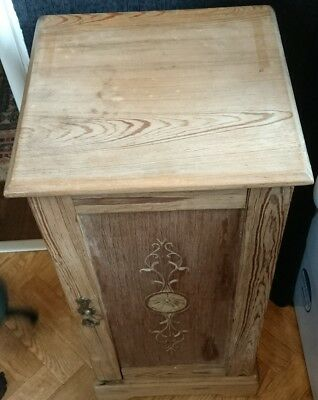 Antique Stripped Pine Bedside  Cupboard