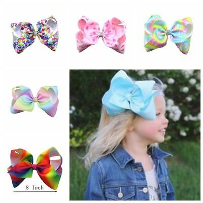 Fashion 12cm Hair Bow Rainbow Bows Dance Moms Girls Accessories Kids Clip CU