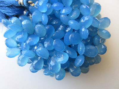Blue Chalcedony Faceted Pear Shaped Briolette Beads 11-12mm 7 Inch Strand GDS644