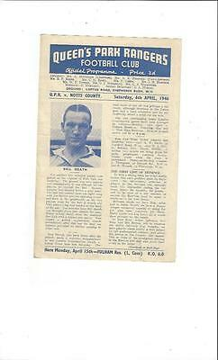 QPR v Notts County League South Cup Football Programme 1945/46
