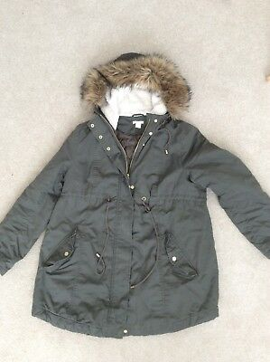 H&M Mama Maternity Autumn Winter Parka Coat Size L Khaki