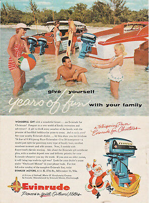 Vintage 1955 ad ~ '56 Line of Whispering Power EVINRUDE for Christmas~Milwaukee