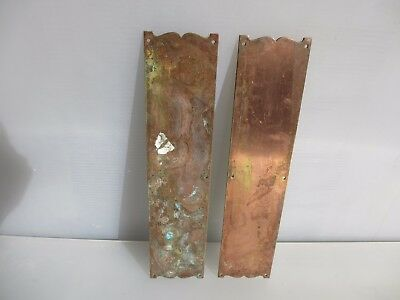 Antique Finger Plates Push Door Handles Copper Plated Brass Vintage Old Pair 12""
