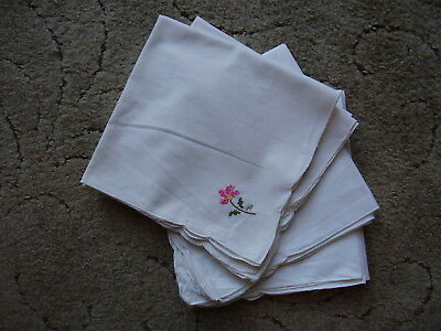"Set of Eight Cotton Table Napkins each 16"" square White Cotton Pink Emb Corner."