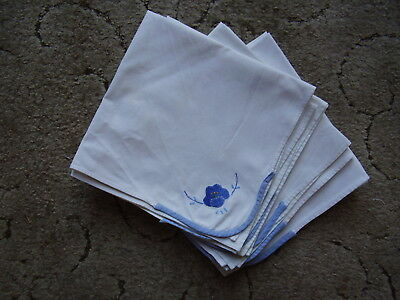 "Set of Eight Cotton Table Napkins 16"" square White Cotton Blue Applique Corner."