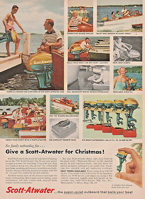 Old 1955 ad~Give a 1956 SCOTT-ATWATER Outboard Motor for Christmas~Minneapolis