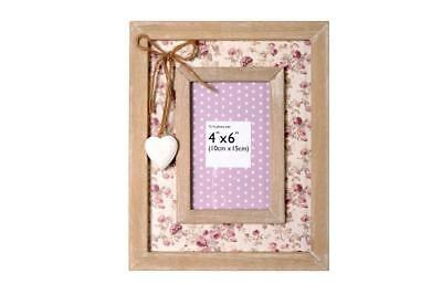 Vintage Style Wooden Photo Frame Shabby Chic Floral Washed Wood Picture Frame