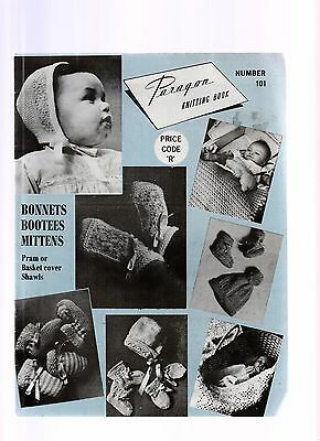 Vintage Knitting Pattern Book Paragon #101 Bonnets Bootees Mittens shawl 3&4ply