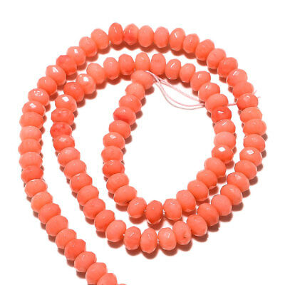 Faceted Pink Coral Rondelle Beads Necklace 6mm Beads 7.5 Inch Half Strand A124