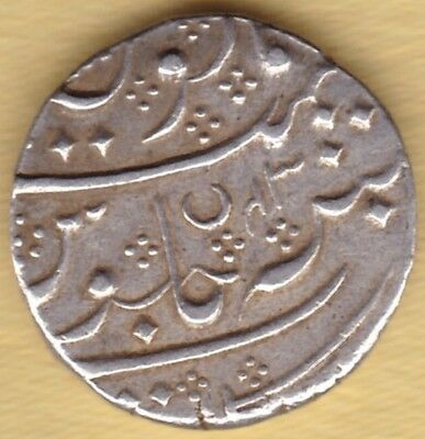 French India Silver One Rupee Ry 43 Ah 1221 #j39