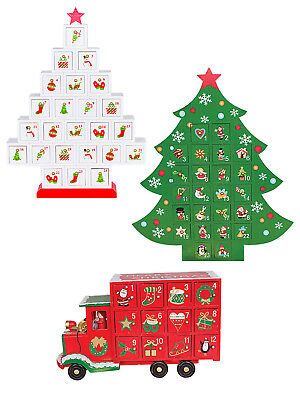 Wooden Advent Calendar Christmas Xmas Traditional Wood Calender Kids Decoration