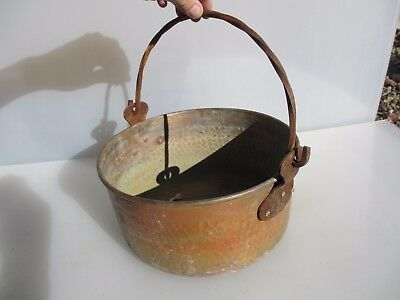 Vintage Copper Cauldron Cooking Pot Tub Planter Trough Bucket Hammered Old Iron