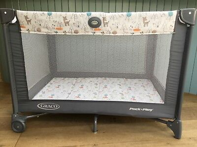 Graco Pack 'n Play Travel Cot Mobile Foldable Baby Bed In Excellent Condition