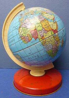 Lovely Small Vintage Tinplate Terrestrial Desk Globe 1964-1965 British Made