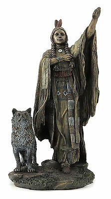 Native American Indian Woman with Wolf Statue Sculpture Figurine Bronze Finish