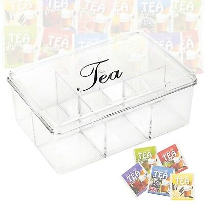 6 Sections Acrylic Clear Tea Box With Lid Compartments Container Bag Caddy Chest