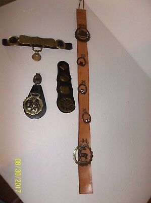 Lot of  Horse Tack Saddle  Brass Medallions Leather Strap Canada Medallions