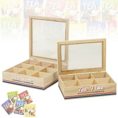 Wooden Tea Box 6 Or 9 Compartments Glass Hinged Lid Home Kitchen Bag Container