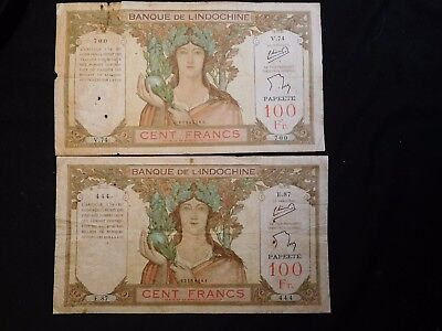 INV #S53 French Polynesia Tahiti 1939-1965 100 Francs P-14c 2 HUGE Notes