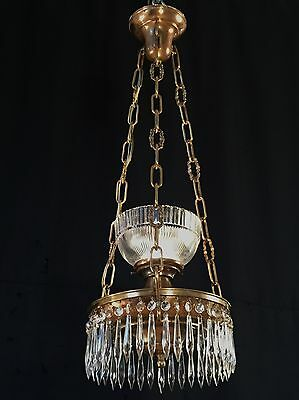 Unusual Antique  Brass Pan Crystal Spear Single Up Light Chandelier