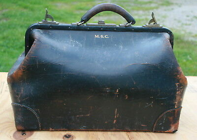 Vintage Doctors Bag Satchel Genuine Leather Luggage