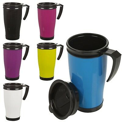 Insulated Double Wall Non Spill Travel Mug With Easy Lid Grip Coffee Tea Hot Cup