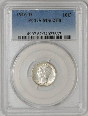 1916-D Mercury Dime 10c MS62 FB PCGS