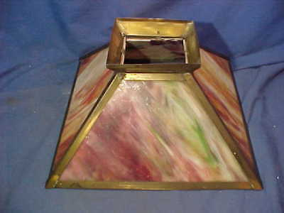 1920s ARTS + CRAFTS Style SLAG GLASS Table LAMP SHADE Red Green Swirl Colors