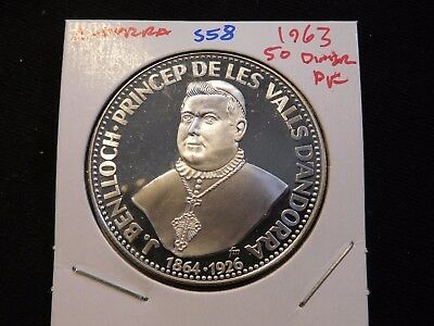 INV #S58 Andorra 1963 Silver 50 Diner Proof