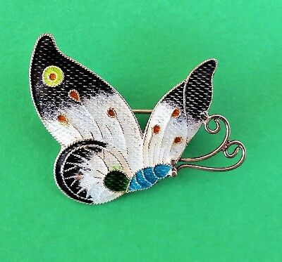 Vintage BUTTERFLY S925 Sterling Silver GUILLOCHE ENAMEL Brooch Pin by ZARAH? #2