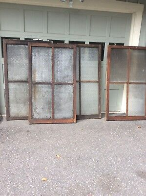 """4 Antique Textured Glass Windows 60 """"X 36"""" Architectural Salvage New Milford Ct"""