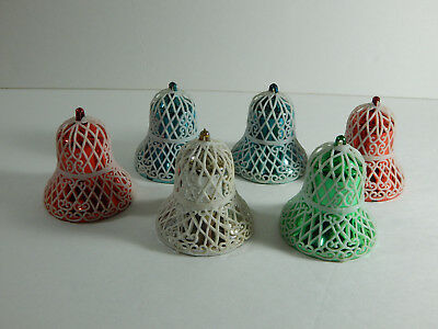 Vintage Christmas Tree Ornaments Plastic Bells - Set of 6 Blue Green Red Silver