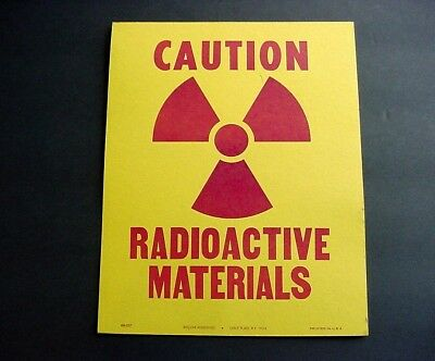 NEAR MINT 1960s Vintage CAUTION RADIOACTIVE MATERIALS Old Unused Sign