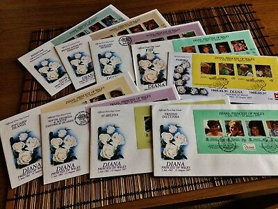 1998 Princess Diana Commemorative First Day Covers FDC WHITE ROSES