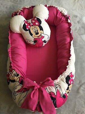 Infant baby nest double side with toy Minnie Mouse for girl portable bed