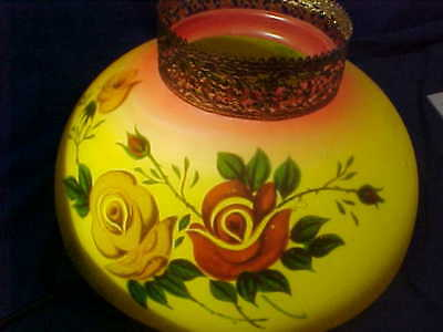 19thc VICTORIAN era IRON HORSE Style HANGING OIL LAMP Glass SHADE w ROSES Yellow
