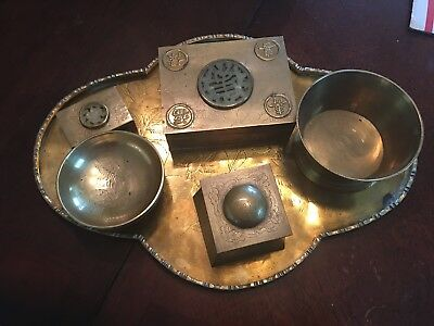 Antique Chinese Opium War Era Pipe Smokers Brass Tray w/ accessories