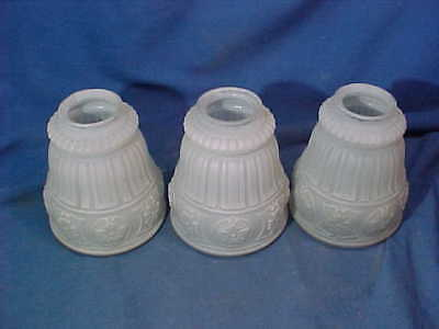 3-Early 20thc FROSTED GLASS Ceiling Fixture LIGHT SHADES w Victorian DESIGNS