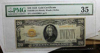 1928 $20 Gold Certificate PMG 35 FR#2402 CHOICE VERY FINE