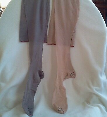 Vintage Womens Pure Silk Stockings Early 1930s Sz 10.0,colors gray & flesh, NOS