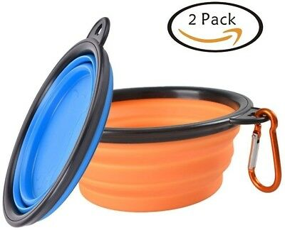 Collapsible Travel Pet Bowl,SOWOKO Portable Dog Cat Food Water Feeder Silicone