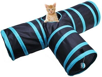 Bonanic Cat Play Tunnel, Collapsible 3 Way Cat Tube Toy, Pet Play Tunnel Toy