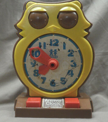 Vintage 1975 Tomy Answer Clock Owl Analog Time Teaching Educational Learning Toy
