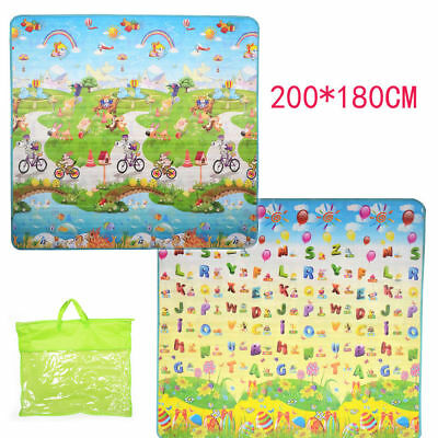 200*180*0.6cm Kids Crawling Educational Game Baby Play Mat Soft Carpet 2 Sides