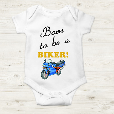 Personalised Biker Baby Grow Bodysuit Vest Christmas Gift Present Born To Be