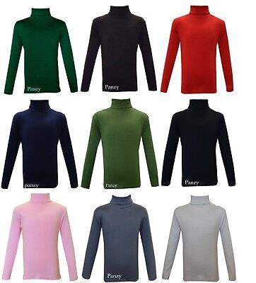 Kids Boys Girls Cotton Polo Neck Jumper Top Roll Neck Long Sleeved Tops 2-13Yrs