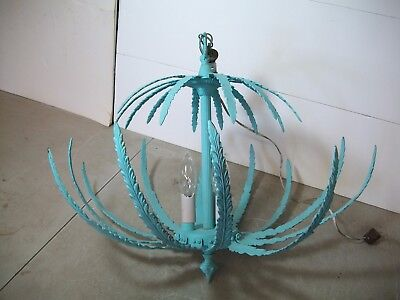 Hanging Ceiling Light Art Deco Vintage antique Brass Fern Leaves Design